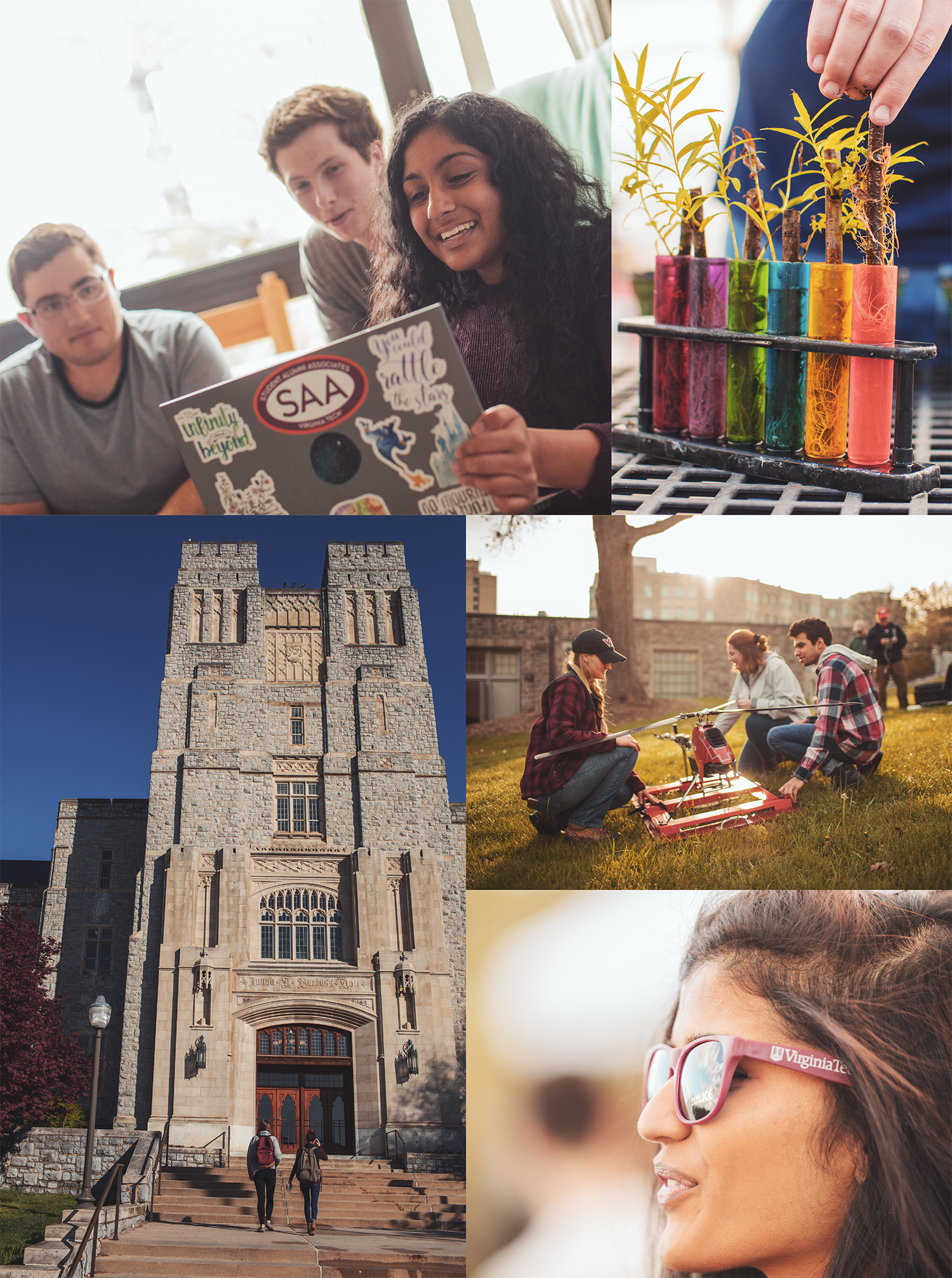 Collage of images of students enagaged in research and various campus activities